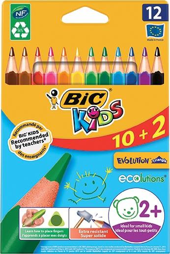 Bic Kids Evolution Triangle kleurpotloden, etui 10 + 2 gratis