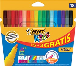 Bic Kids viltstiften Visa, ophangdoosje met 15 + 3 gratis