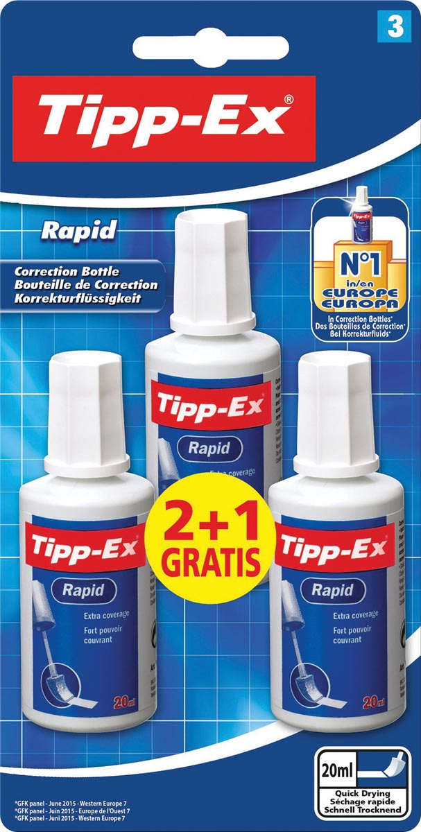 Tipp-Ex correctievloeistof Rapid, blister van 3 stuks (2 + 1 gratis)