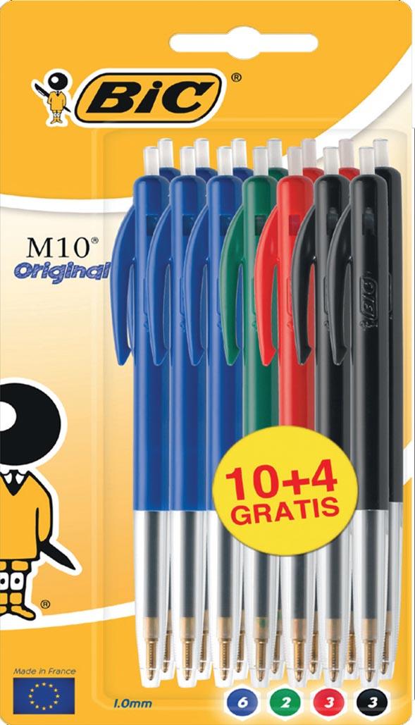Bic balpen M10 Clic, 0,4 mm, medium punt, geassorteerde kleuren, blister 10 stuks + 4 gratis