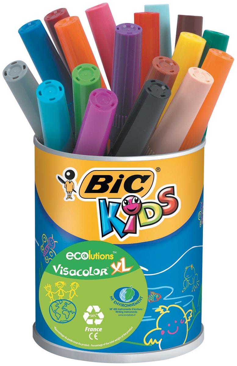 Bic Kids Viltstift Visacolor XL Ecolutions 18 stiften in een metalen pot
