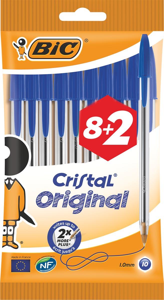 Bic stylo bille Cristal Medium, blauw, blister 8 + 2 GRATUIT