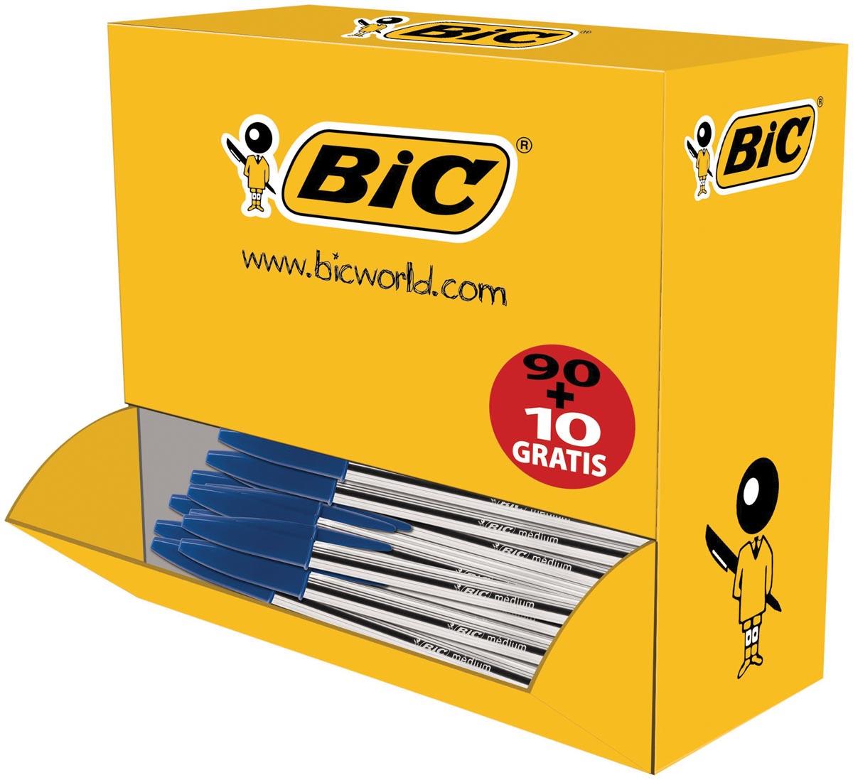 Bic balpen Cristal Medium voordeelpak 90 + 10 gratis, blauw