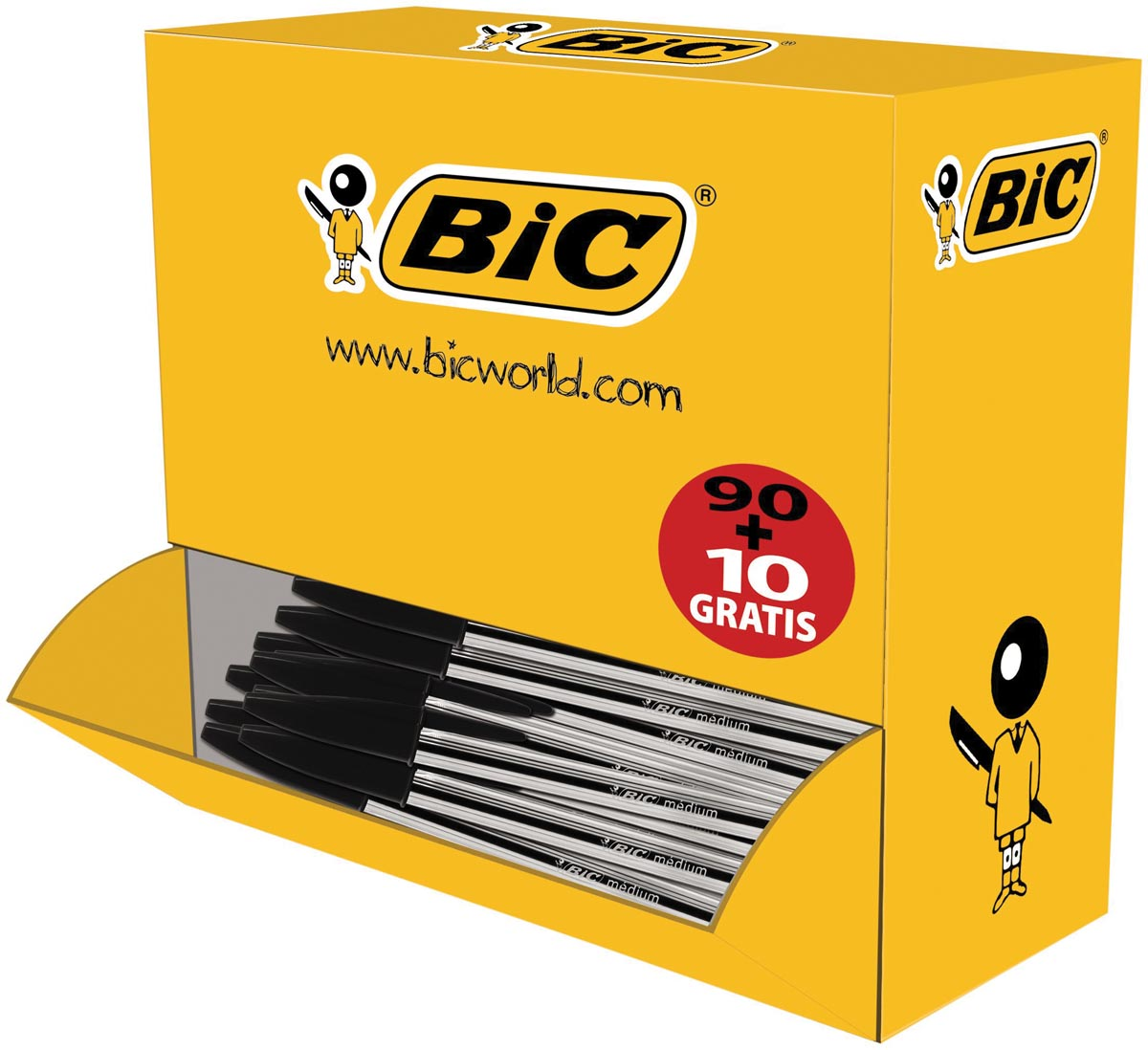 Bic balpen Cristal Medium voordeelpak 90 + 10 gratis, zwart