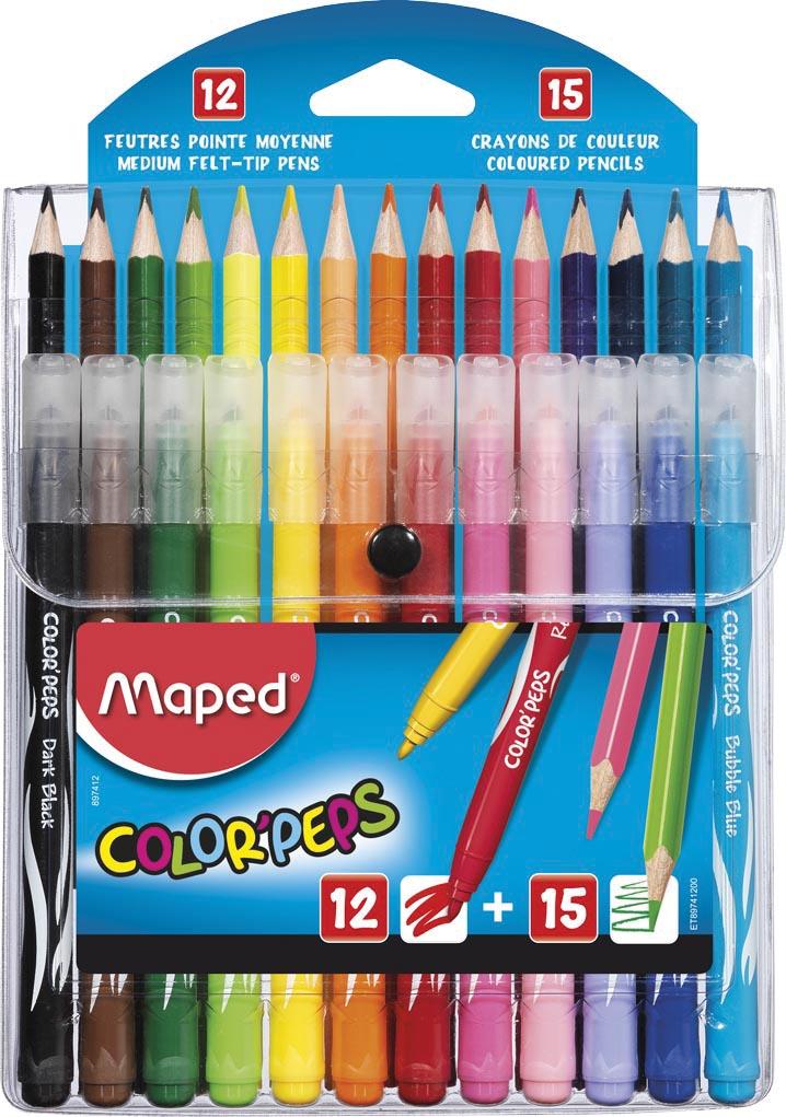 Maped Color'Peps combo pack 12 viltstiften + 15 kleurpotloden