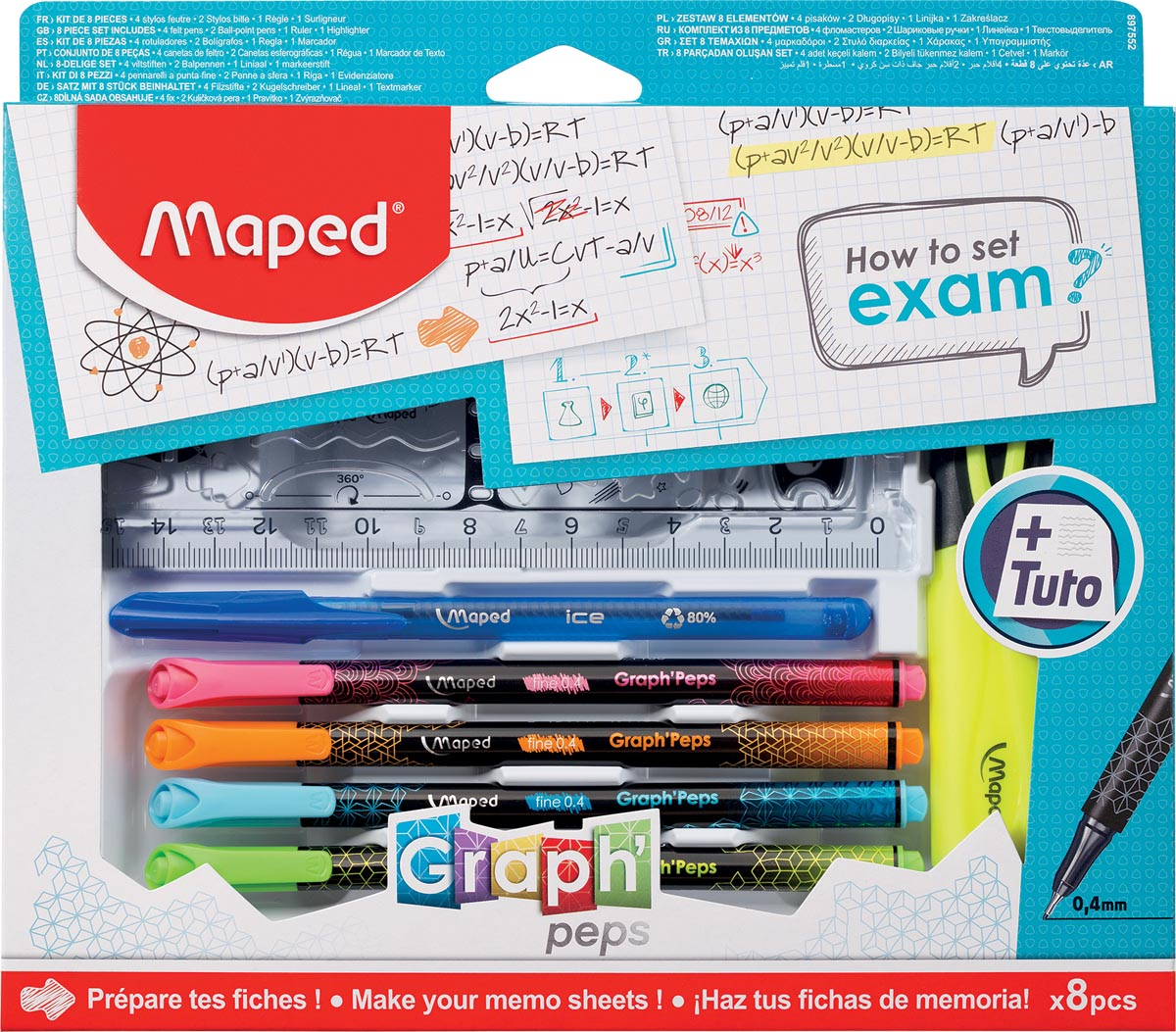 Maped How to exam-set, 8-delige ophangdoos