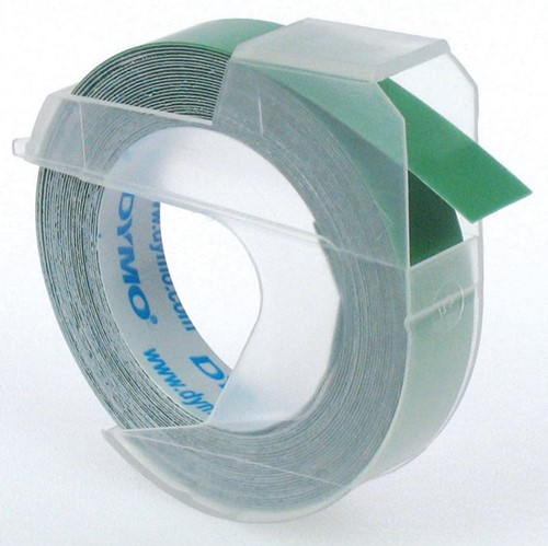 Dymo tape 9 mm voor lettertang Omega, groen
