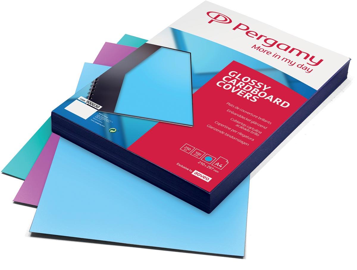 Pergamy omslagen ft A4, 250 micron, glanzend, pak van 100 stuks, trendy blauw