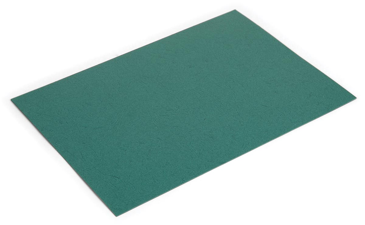 Pergamy omslagen lederlook ft A4, 250 micron, pak van 100 stuks, donkergroen