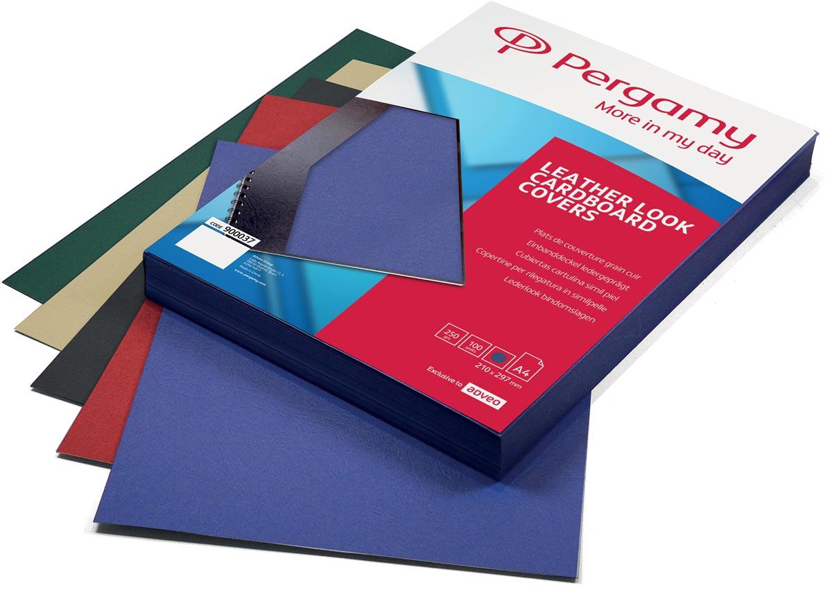 Pergamy omslagen lederlook ft A4, 250 micron, pak van 100 stuks, bordeaux