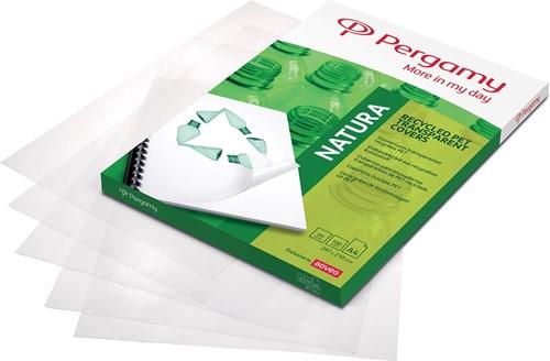 Pergamy omslagen uit gerecycleerd plastic ft A4, 200 micron, pak van 100 stuks