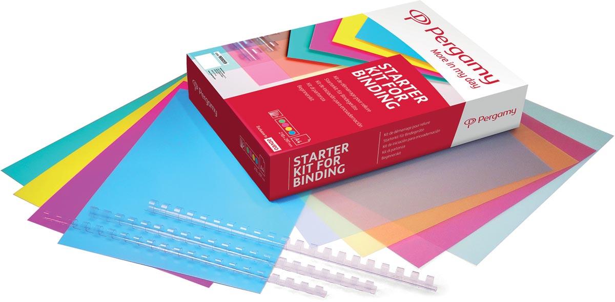 Pergamy starter kit: 40 glanzende omslagen; 40 transparante omslagen; 40 transparante bindruggen