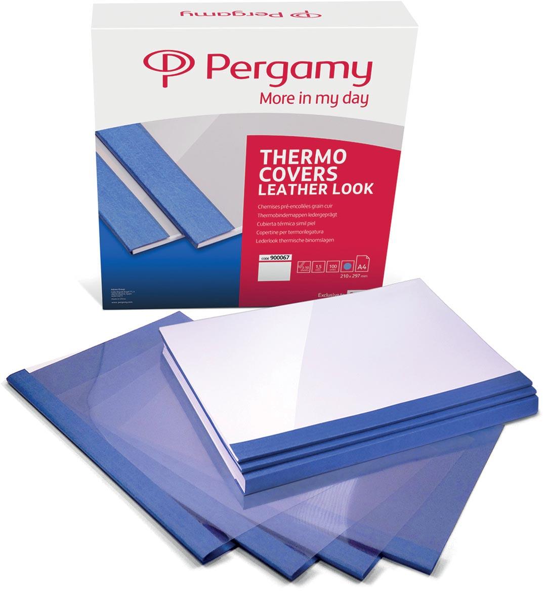 Pergamy thermische omslagen ft A4, 1,5 mm, pak van 100 stuks, lederlook, blauw