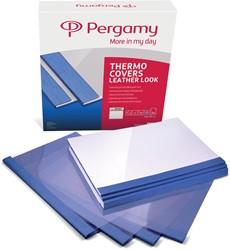 Pergamy thermische omslagen ft A4, 3 mm, pak van 100 stuks, lederlook, blauw
