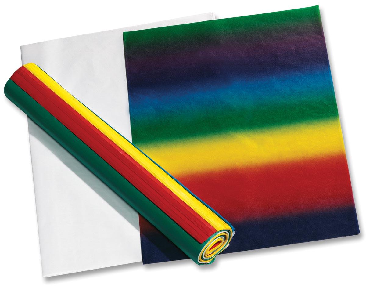 Folia zijdepapier geassorteerde kleuren: donkerblauw, wit, lichtgroen, paars, zwart, bruin, geel, gr