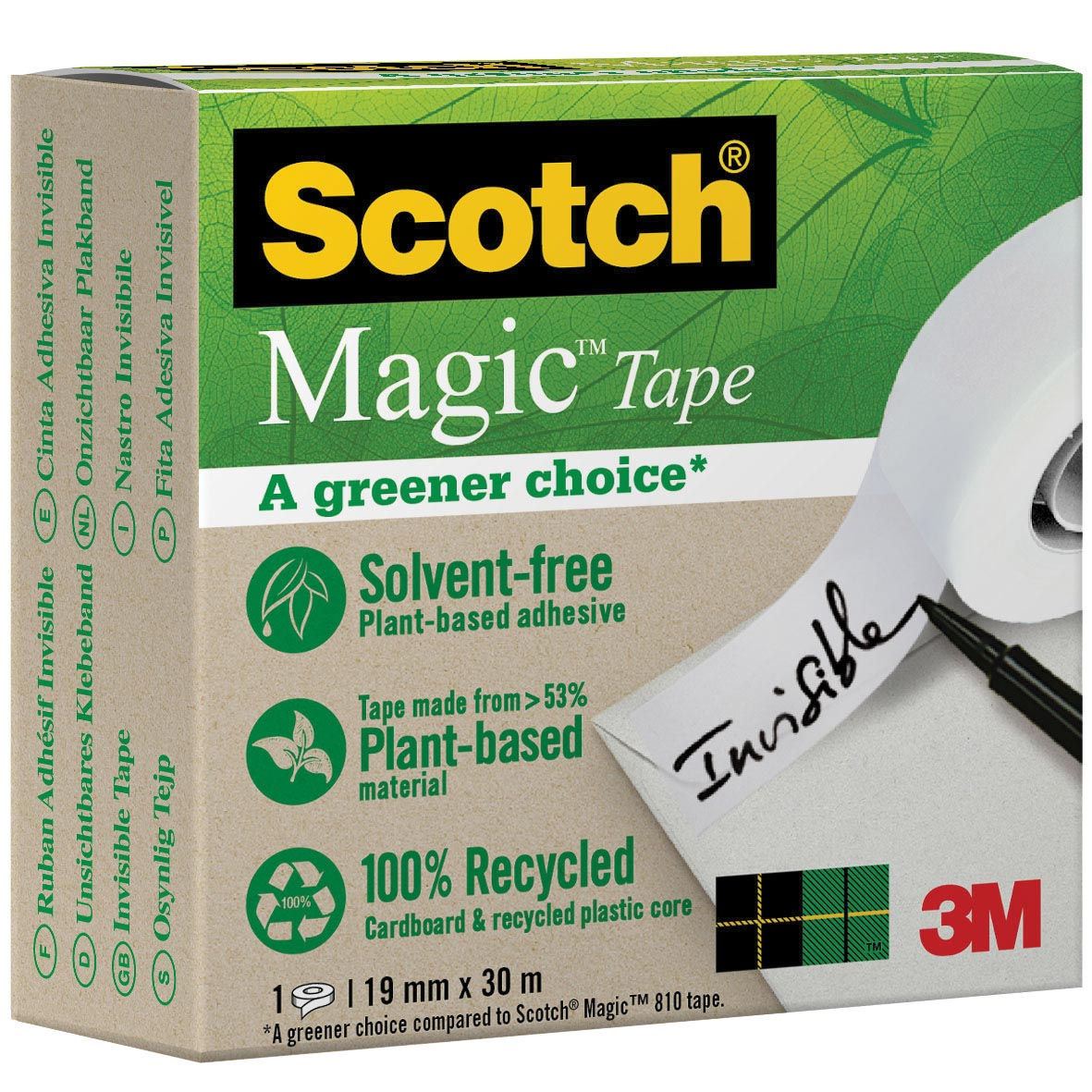 Plakband Magic Tape A greener choice ft 19 mm x 30 m, doos met 1 rolletje