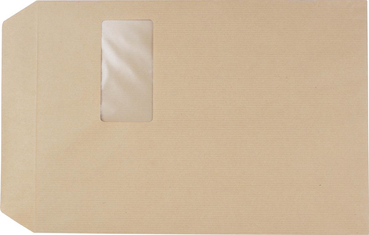 Pergamy kraftzakje 90 g, ft: C4 229 x 324 mm, met venster ft 50 x 100 mm, zelfklevend, doos van 250