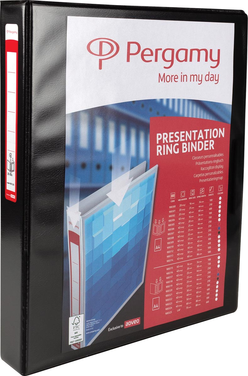 Pergamy personaliseerbare ringmap, ft A4, 4 D-ringen van 25 mm, zwart