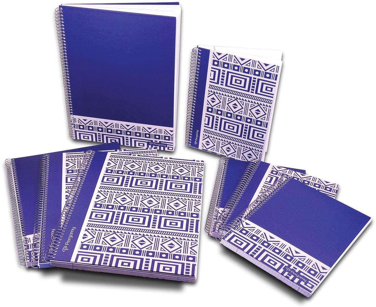 Pergamy Ethnic notitieboek ft A4, geruit 5 mm, blauw