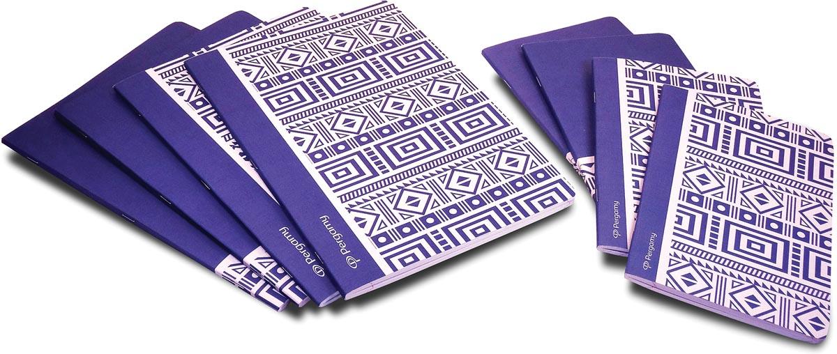 Pergamy Ethnic schrift, ft A4, gelijnd, 48 bladzijden, blauw