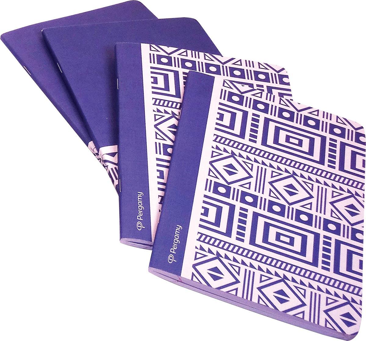 Pergamy Ethnic schrift, ft A5, gelijnd, 48 bladzijden, blauw