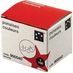 5 Star punaises geassorteerde kleuren, doos van 100 stuks