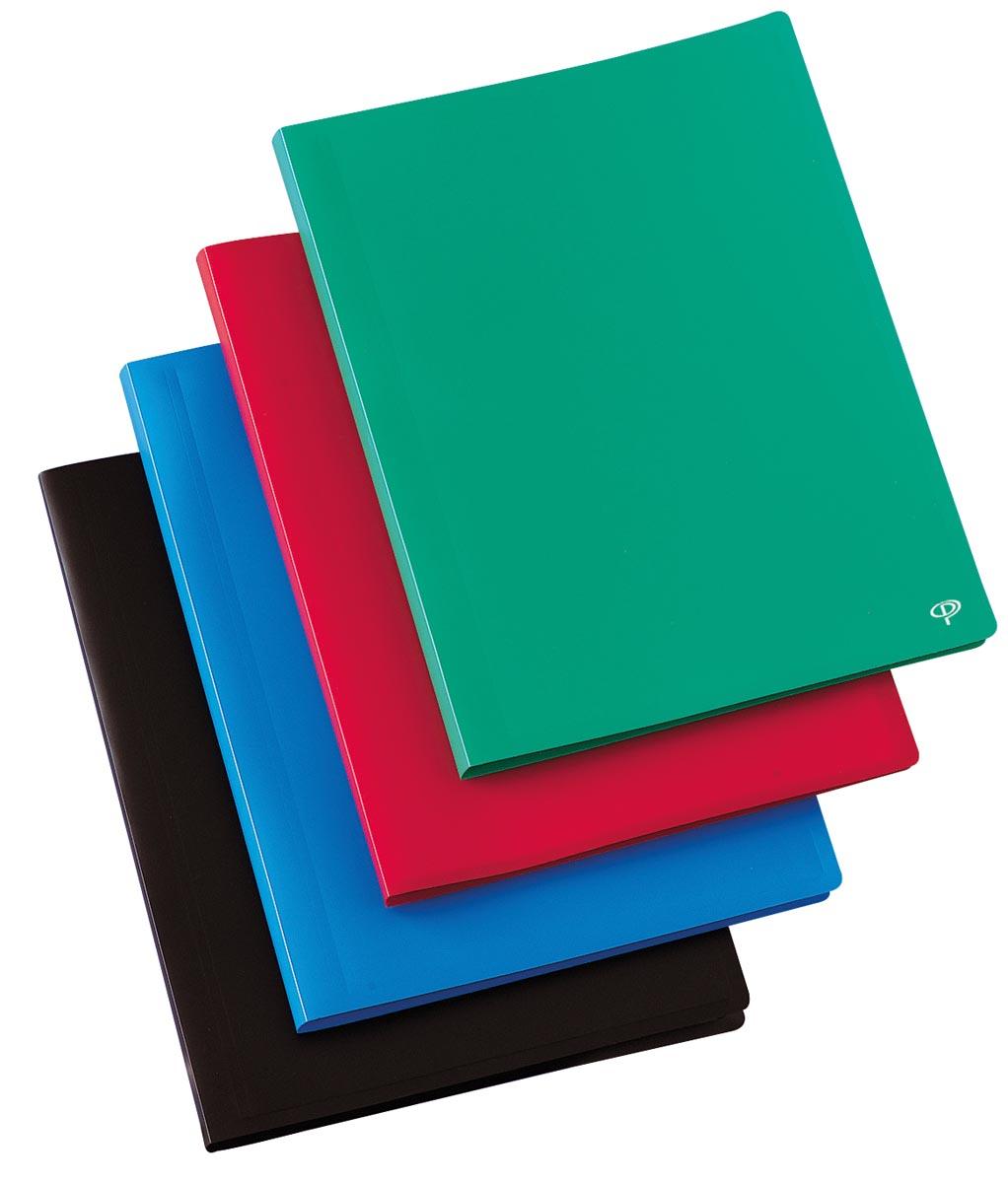 Pergamy showalbum, voor ft A4, met 10 transparante tassen, in geassorteerde kleuren