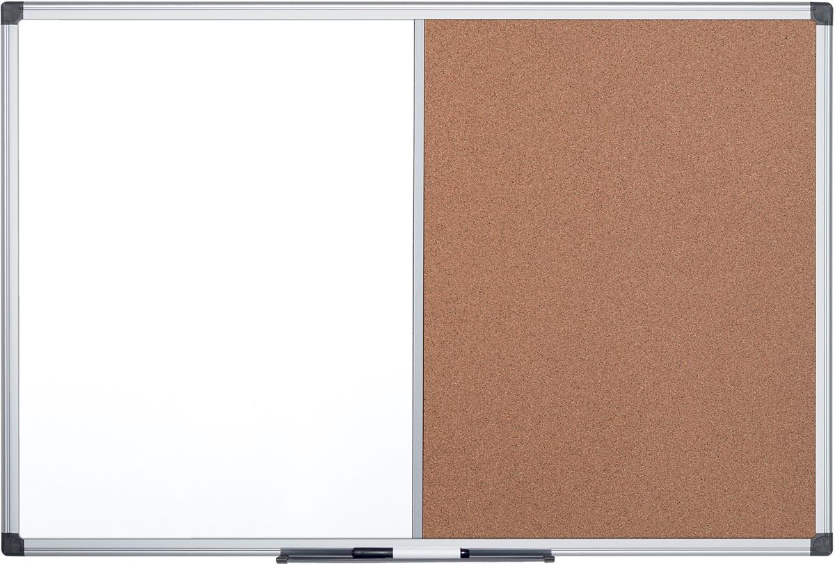 Pergamy combibord, kurk en magnetisch whiteboard, ft 90 x 120 cm
