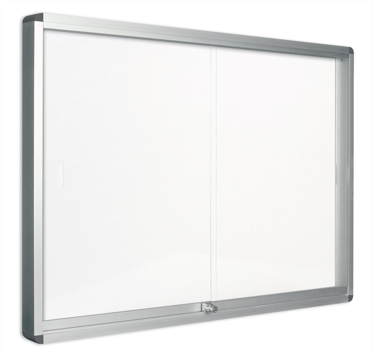 Pergamy glazen vitrine met schuifdeur en magnetische achtergrond ft 12 x A4