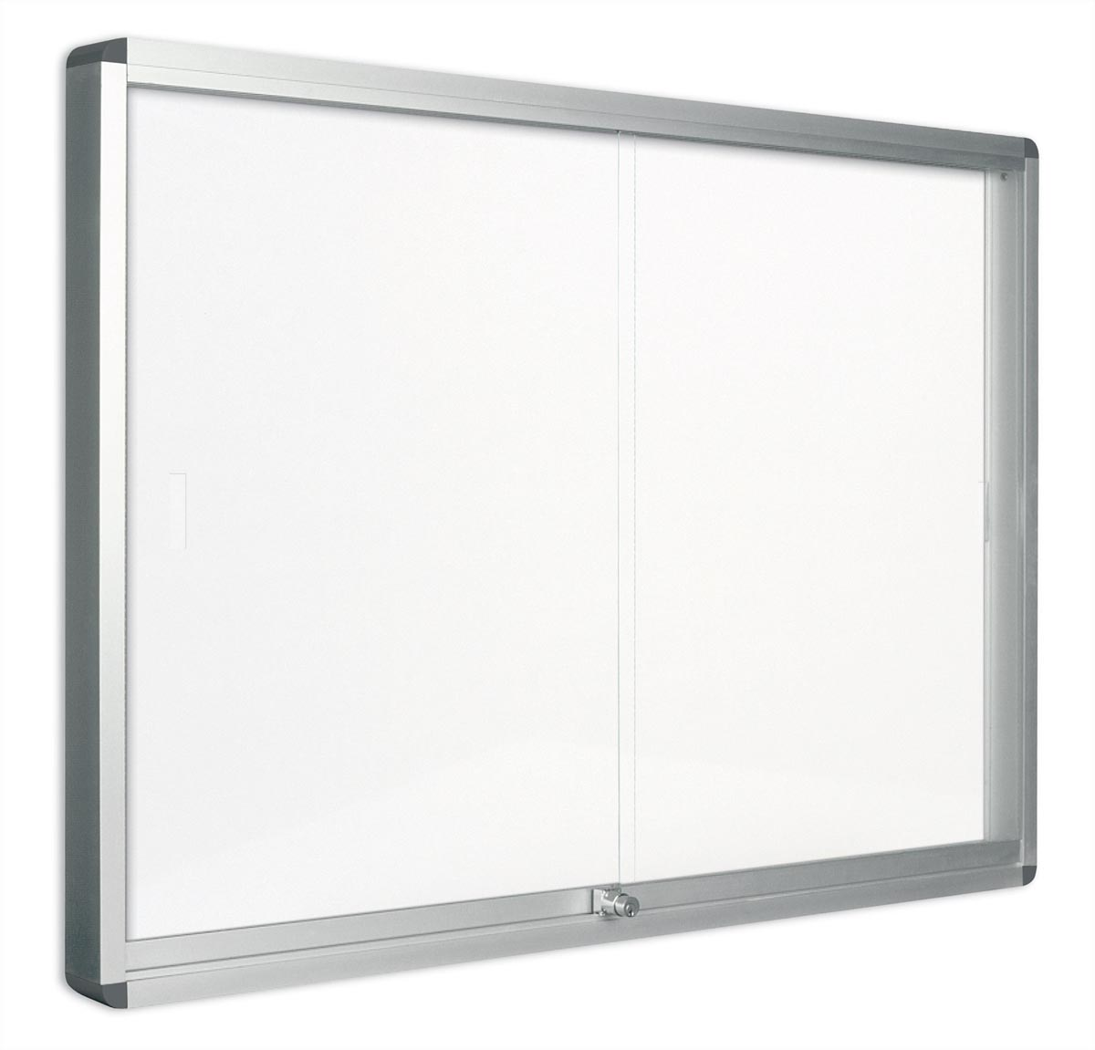 Pergamy glazen vitrine met schuifdeur en magnetische achtergrond ft 18 x A4