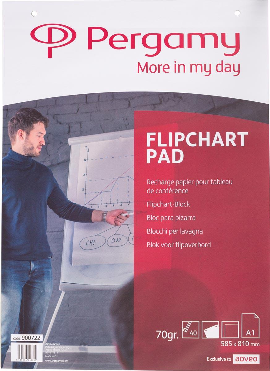 Pergamy flipchartpapier ft A1, blanco, 40 blad