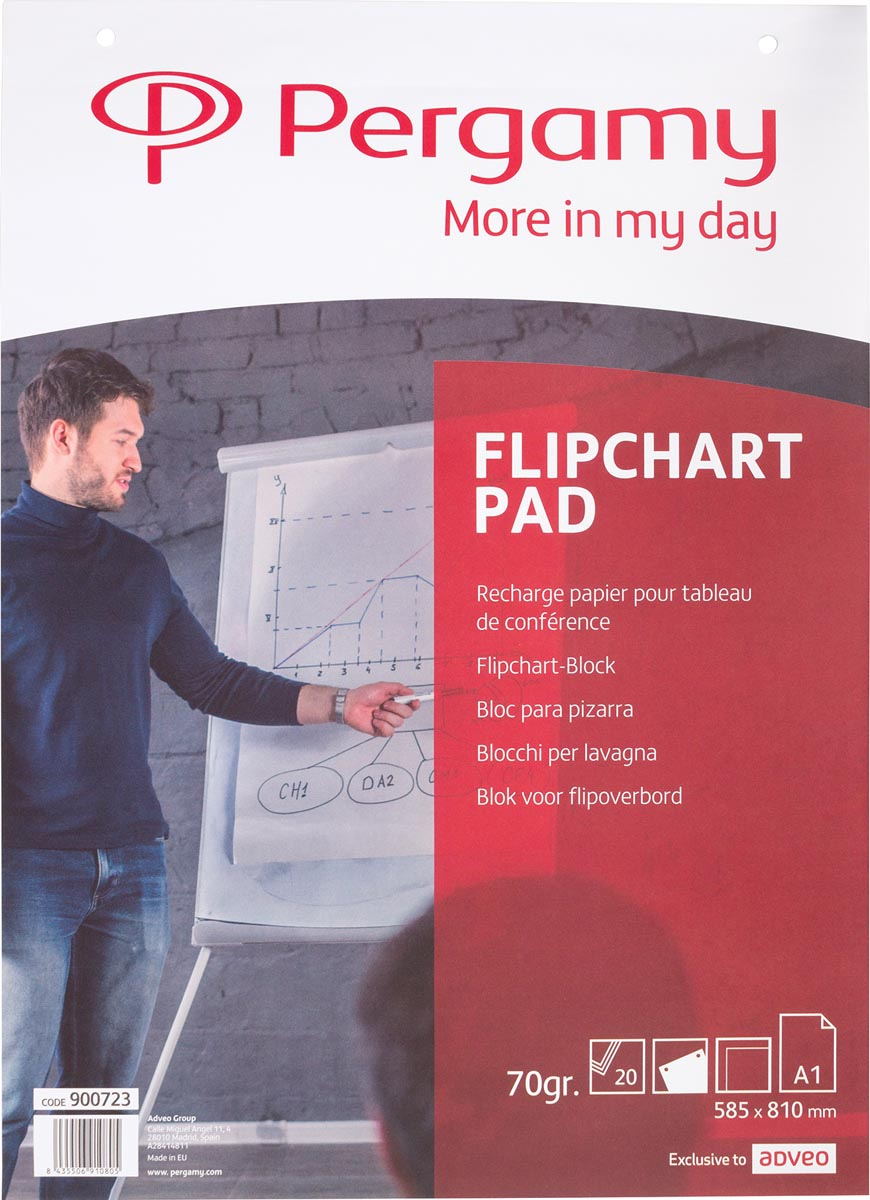 Pergamy flipchartblok ft A1 (58,5 x 81 cm), blanco, pak met 20 blad
