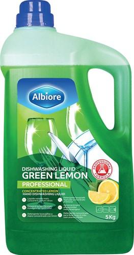 Albiore geconcentreerd vloeibaar afwasmiddel Green Lemon, flacon van 5 l