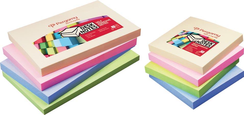 Pergamy notes, ft 76 x 76 mm, 4 geassorteerde pastel kleuren, pak van 12 blokken
