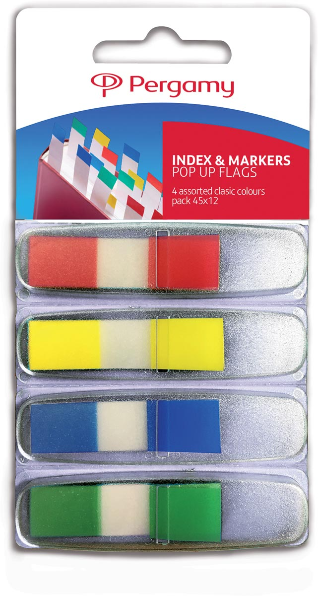 Pergamy index ft 45 x 12 mm, blister van 4 geassorteerde klassieke kleuren, met dispenser