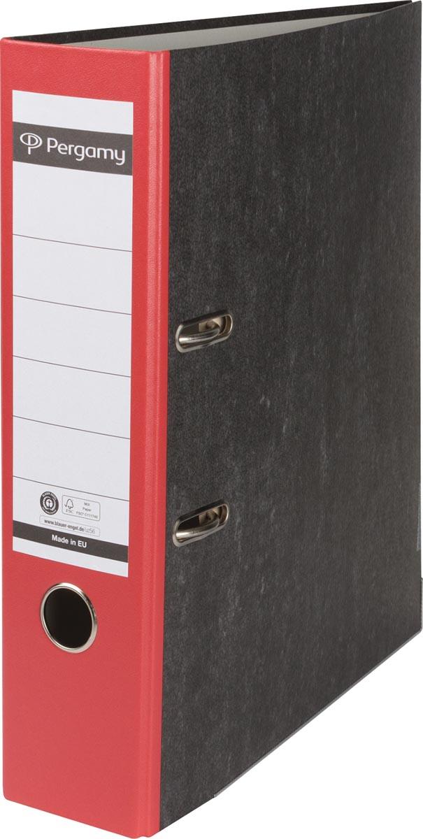 Pergamy ordner, voor ft A4, uit karton, rug van 8 cm, gewolkt rood