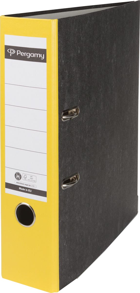 Pergamy ordner, voor ft A4, uit karton, rug van 8 cm, gewolkt geel