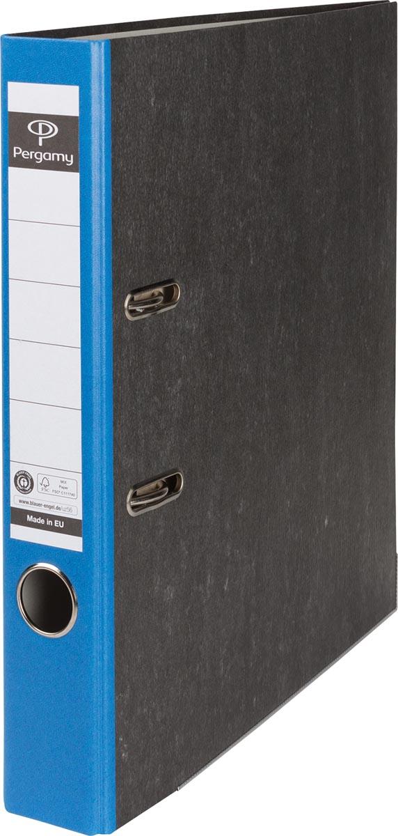 Pergamy ordner, voor ft A4, uit karton, rug van 5 cm, gewolkt blauw