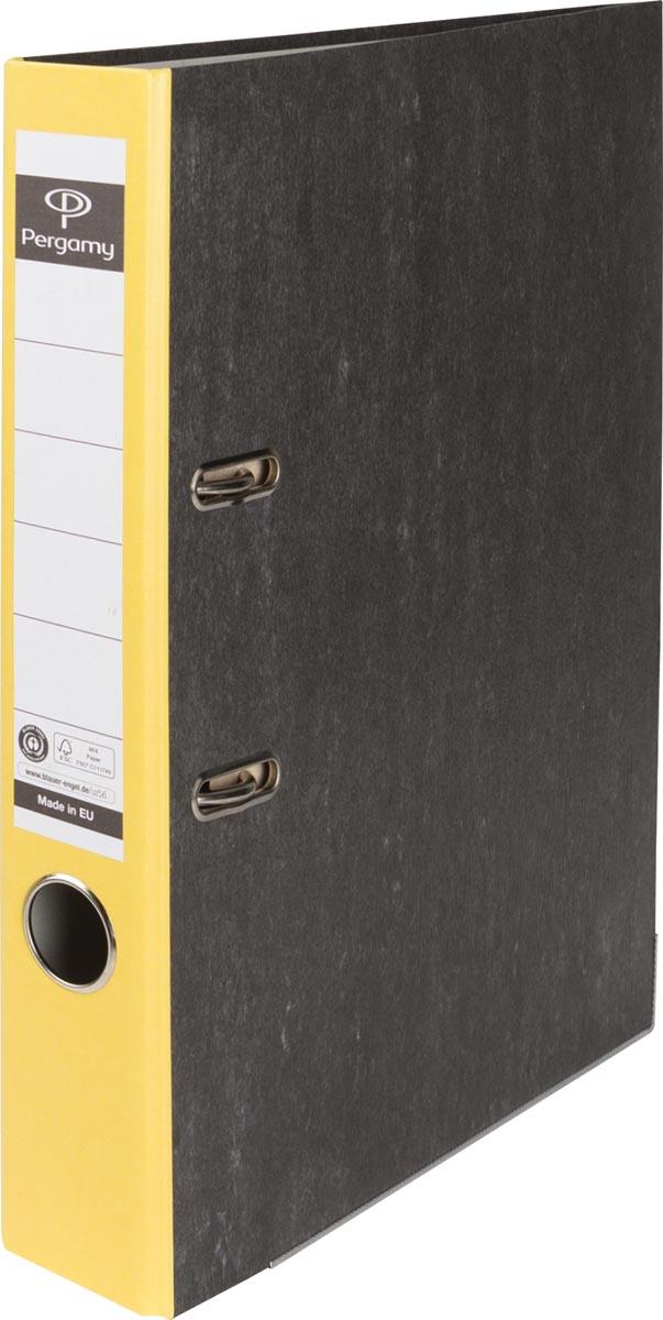 Pergamy ordner, voor ft A4, uit karton, rug van 5 cm, gewolkt geel