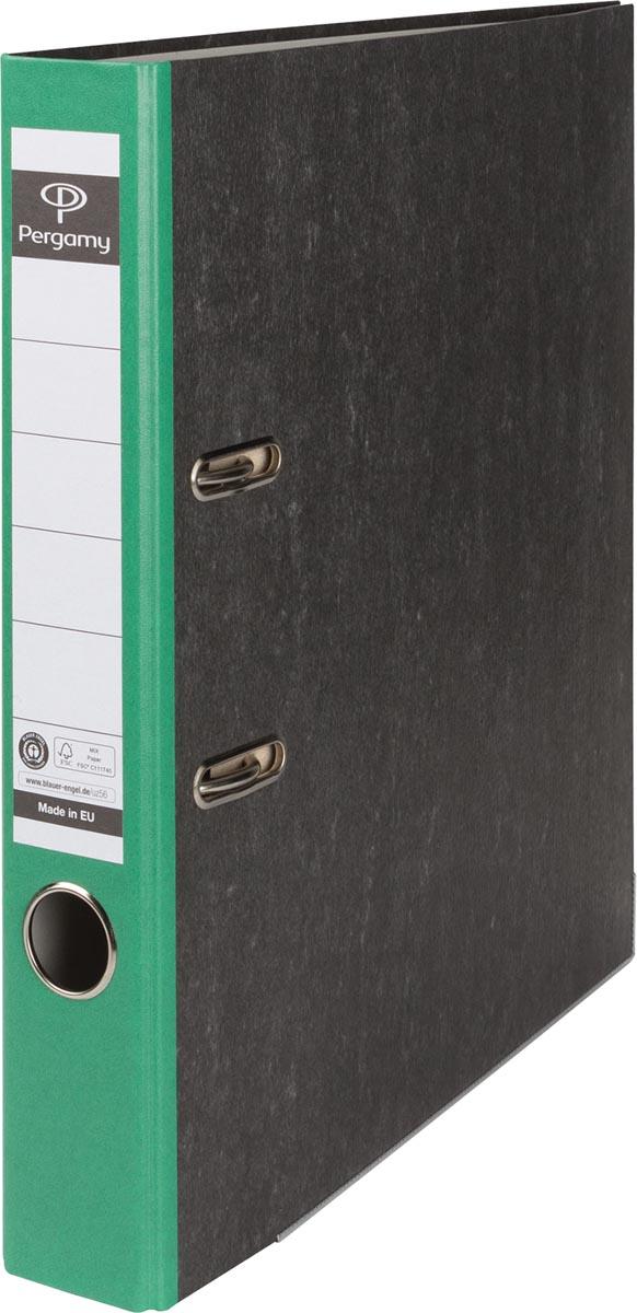 Pergamy ordner, voor ft A4, uit karton, rug van 5 cm, gewolkt groen