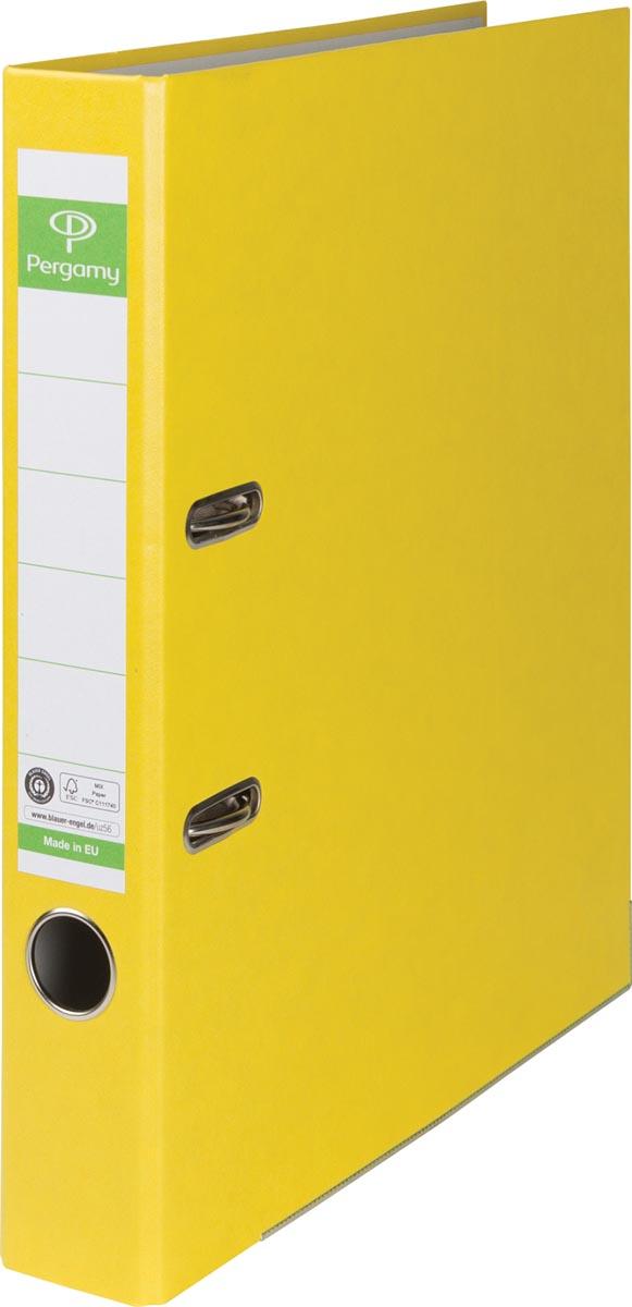 Pergamy ordner, voor ft A4, uit Recycolor papier, rug van 5 cm, geel
