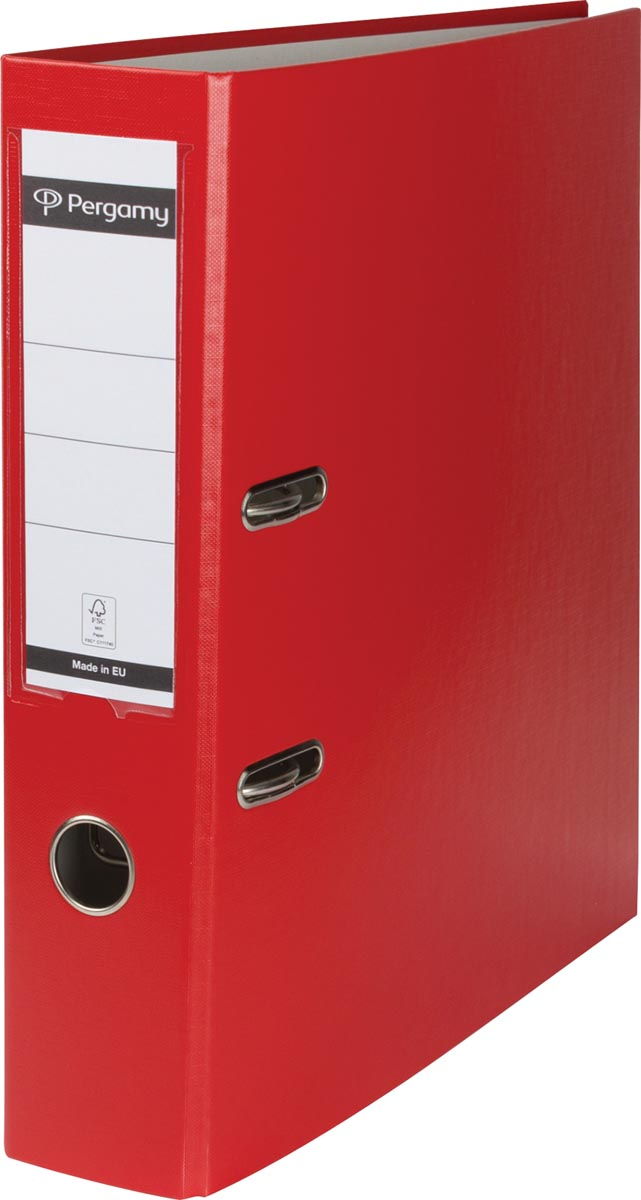 Pergamy ordner, voor ft A4, uit PP en papier, rug van 7,5 cm, rood