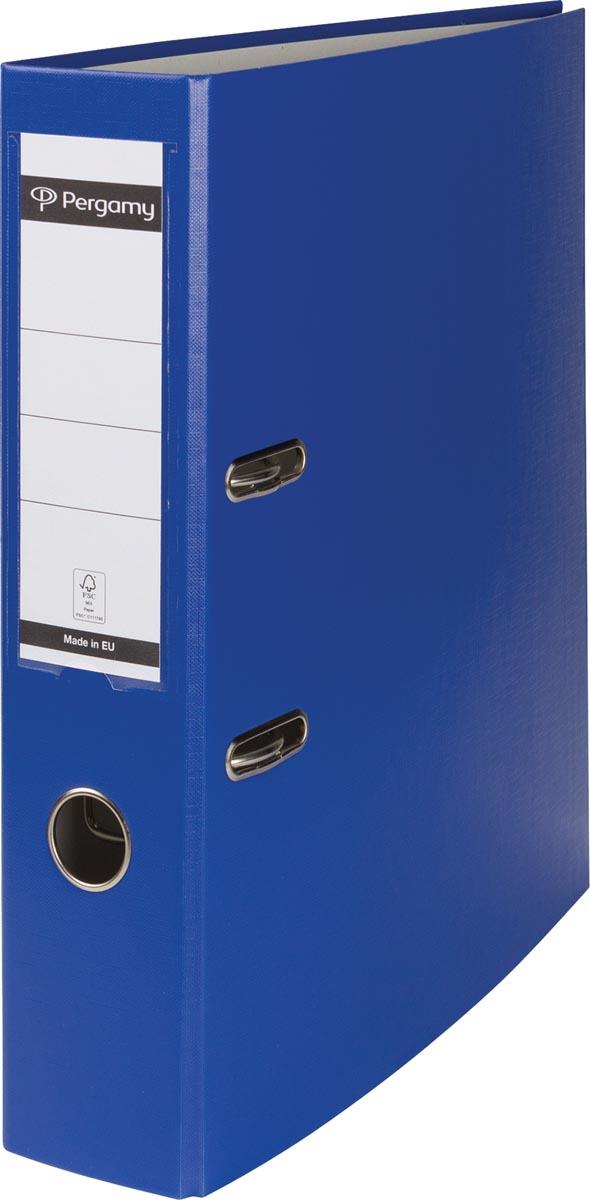 Pergamy ordner, voor ft A4, uit PP en papier, rug van 7,5 cm, koningsblauw