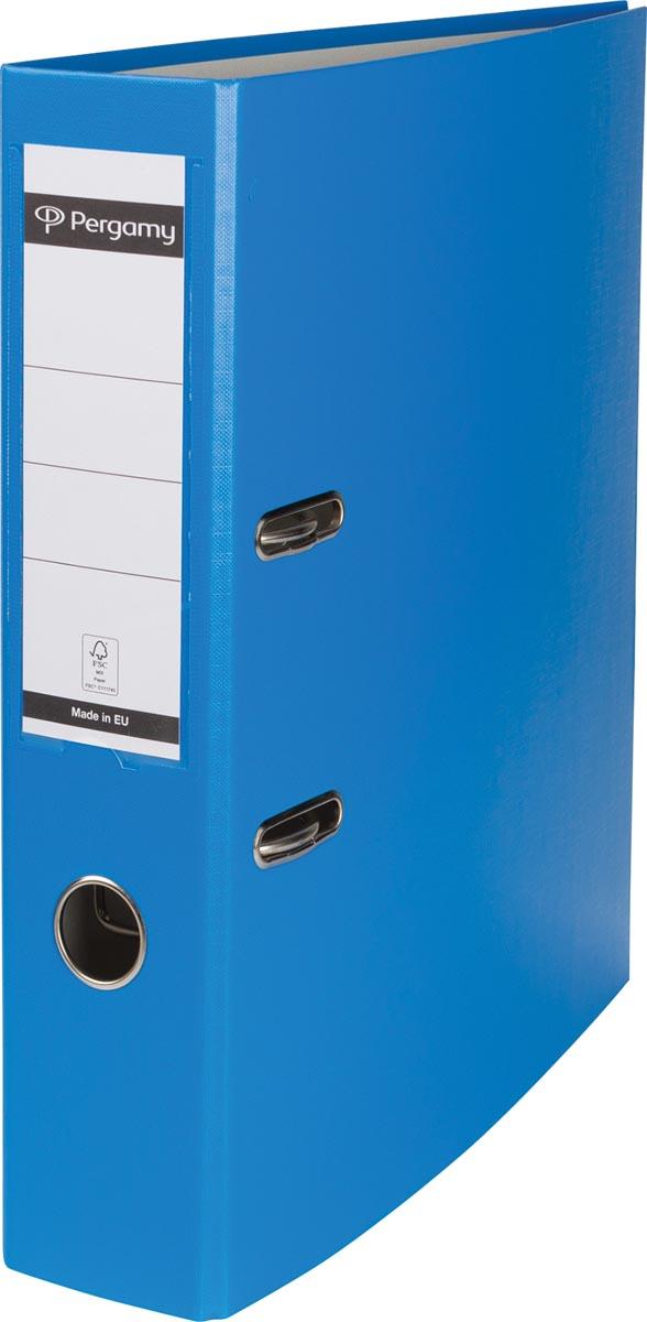 Pergamy ordner, voor ft A4, uit PP en papier, rug van 7,5 cm, lichtblauw
