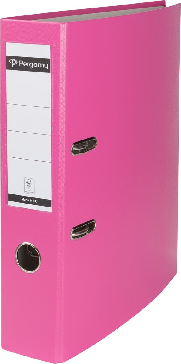 Pergamy ordner, voor ft A4, uit PP en papier, rug van 7,5 cm, roze