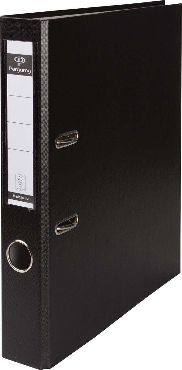 Pergamy ordner, voor ft A4, uit PP en papier, rug van 5 cm, zwart