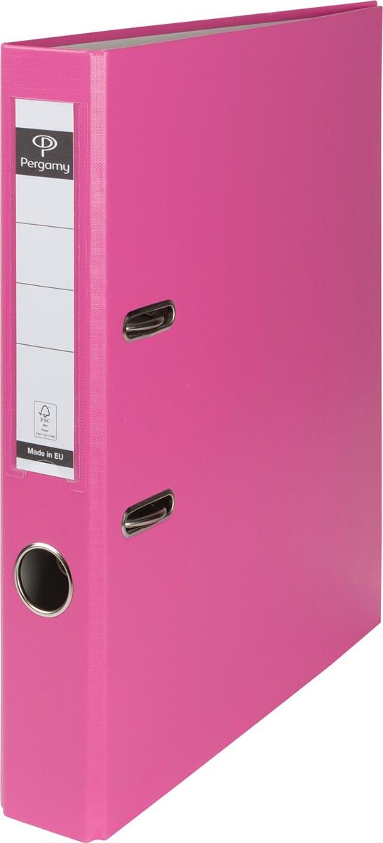 Pergamy ordner, voor ft A4, uit PP en papier, rug van 5 cm, roze