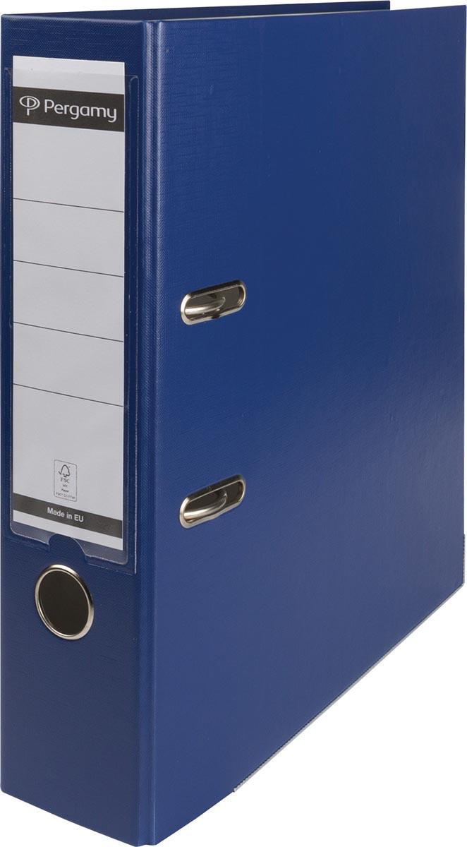 Pergamy ordner, voor ft A4, uit PP en papier, rug van 8 cm, donkerblauw