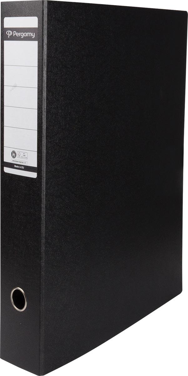 Pergamy ordner, uit karton, voor ft A3, staand, rug van 8 cm, zwart