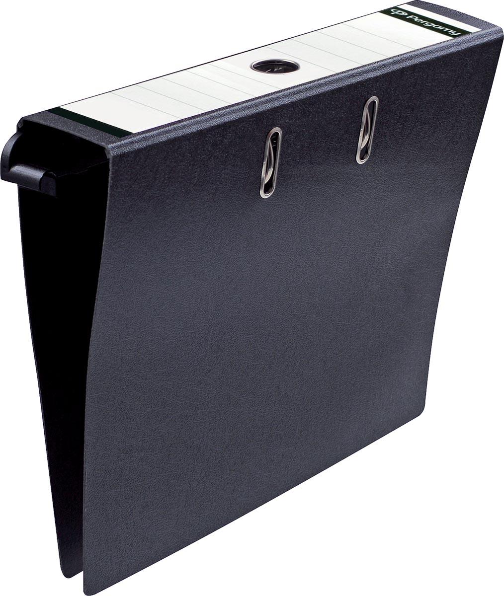 Pergamy hangmap voor ordners, uit karton, voor ft A4, rug van 8 cm, zwart
